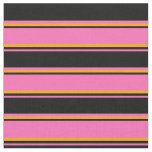 [ Thumbnail: Hot Pink, Black & Orange Colored Lines Pattern Fabric ]