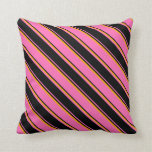 [ Thumbnail: Hot Pink, Black & Orange Colored Lines Pattern Throw Pillow ]