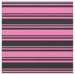 [ Thumbnail: Hot Pink & Black Pattern of Stripes Fabric ]