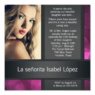 Hot Pink Black Photo Quinceanera Invitations