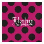 Hot Pink & Black Polka Dot Baby Invitation