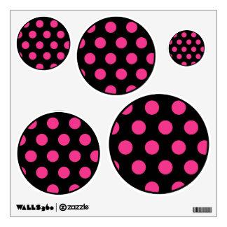 Hot Pink Black Polka Dot Geometric Circle Art Girl Wall Sticker