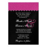 Hot Pink Black Polka Dot Wedding Premium Metallic Announcement
