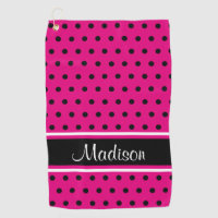 Hot Pink Black Polka Dot White Stripe Script Name Golf Towel