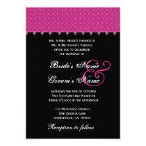 "Hot Pink & Black Polka Dots Wedding Invitation 5"" X 7"" Invitation Card"
