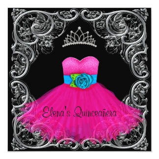 Hot Pink Black Quinceanera Invitations