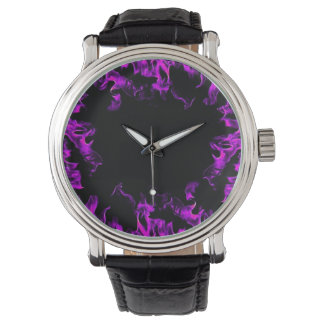 Hot Pink black real fire flame vintage style watch