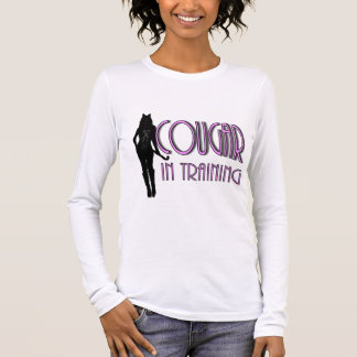 Hot Pink Black silhouette Cougar In Training Long Sleeve T-Shirt