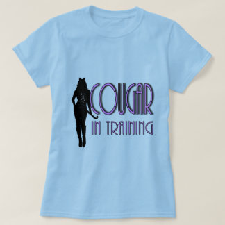 Hot Pink Black silhouette Cougar In Training T-shirts