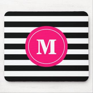 Hot Pink Black Stripe Monogram Mouse Pad. Mouse Pad