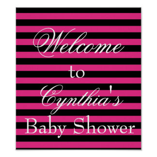 Hot Pink & Black Stripes Welcome Poster