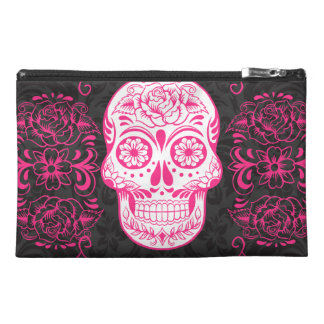 Hot Pink Black Sugar Skull Roses Gothic Grunge Travel Accessories Bags