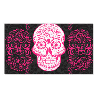 Hot Pink Black Sugar Skull Roses Gothic Grunge Business Card Template
