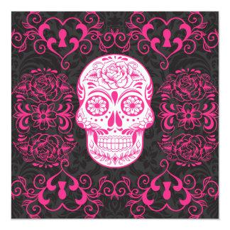 Hot Pink Black Sugar Skull Roses Gothic Grunge Card