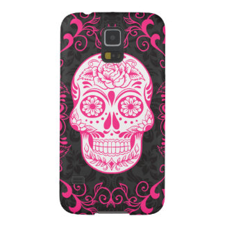 Hot Pink Black Sugar Skull Roses Gothic Grunge Galaxy S5 Covers