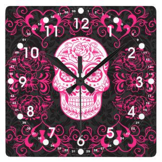 Hot Pink Black Sugar Skull Roses Gothic Grunge Wallclock