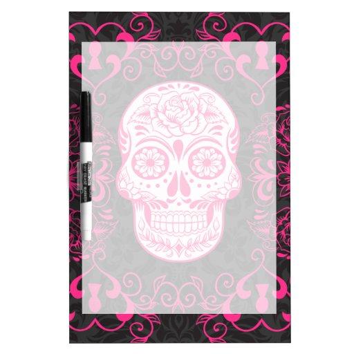 Hot Pink Black Sugar Skull Roses Gothic Grunge Dry Erase Whiteboards