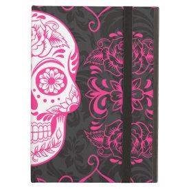 Hot Pink Black Sugar Skull Roses Gothic Grunge iPad Case