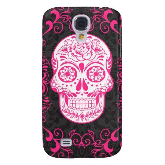 Hot Pink Black Sugar Skull Roses Gothic Grunge Samsung S4 Case