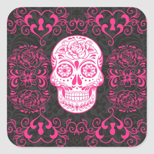 Hot Pink Black Sugar Skull Roses Gothic Grunge Square Sticker