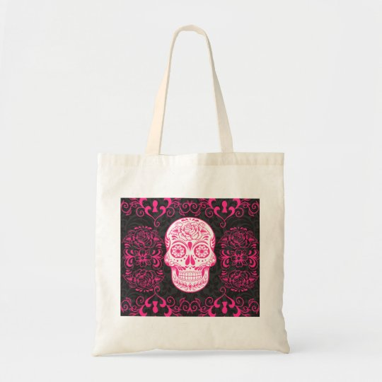 Hot Pink Black Sugar Skull Roses Gothic Grunge Tote Bag