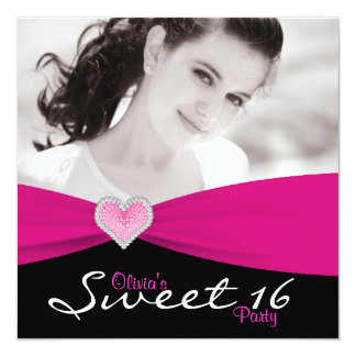 Hot Pink Black Sweet 16 Birthday Party Card
