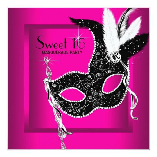 Hot Pink Black Sweet 16 Masquerade Party Card