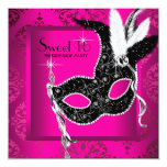 Hot Pink Black Sweet 16 Masquerade Party Personalized Invitations