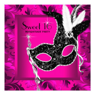 Hot Pink Black Sweet 16 Masquerade Party Custom Announcement