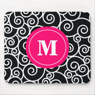 Hot Pink Black Swirl Monogram Mouse Pad. Mouse Pad