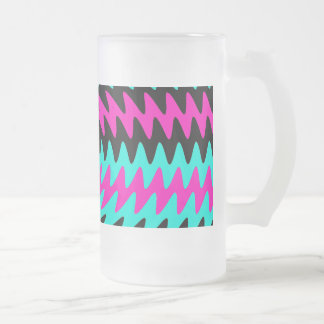 Hot Pink Black Teal Saw Blade Ripples Waves Frosted Glass Beer Mug