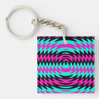 Hot Pink Black Teal Saw Blade Ripples Waves Keychain