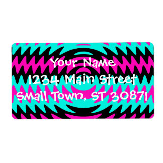 Hot Pink Black Teal Saw Blade Ripples Waves Shipping Label