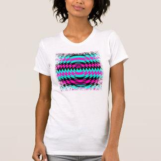 Hot Pink Black Teal Saw Blade Ripples Waves T-Shirt