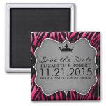 Hot Pink & Black Untamed Zebra Print Save the Date 2 Inch Square Magnet