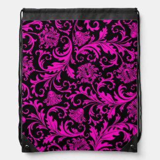 Hot Pink & Black Vintage Floral Damasks Drawstring Backpack