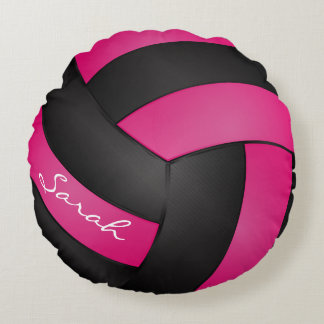 Hot Pink & Black Volleyball | DIY Name | Sport Round Pillow