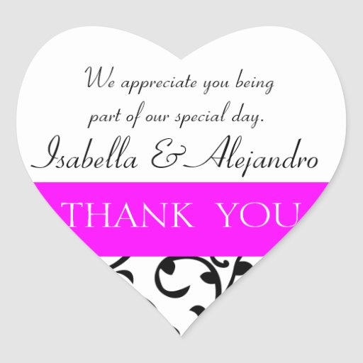 Thank You Wedding Gift Message : Hot Pink, Black Wedding Favor Thank You Message Heart Sticker Zazzle