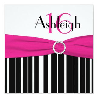 Hot Pink, Black, White 16th Birthday Invitation