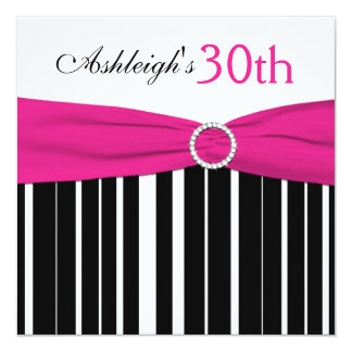 Hot Pink, Black, White 30th Birthday Invitation