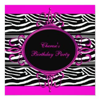 Hot Pink Black White Birthday Party Zebra Animal Invitations