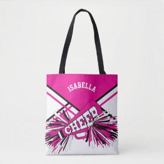 Hot Pink, Black & White Cheerleader Design Tote Bag