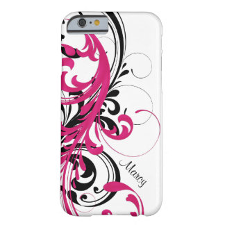 Hot Pink Black White Funky Wavy Scroll Floral Barely There iPhone 6 Case