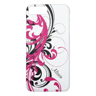 Hot Pink Black White Funky Wavy Scroll Floral iPhone 8 Plus/7 Plus Case