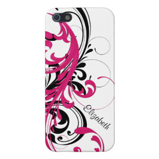 Hot Pink Black White Funky Wavy Scroll Floral iPhone SE/5/5s Case