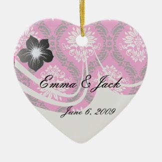 hot pink black white ornate damask ceramic ornament