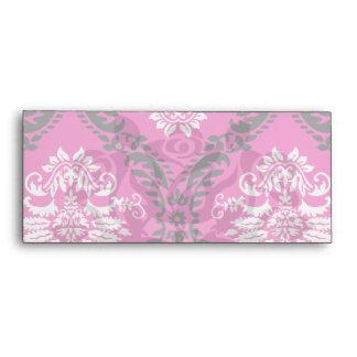 hot pink black white ornate damask envelope