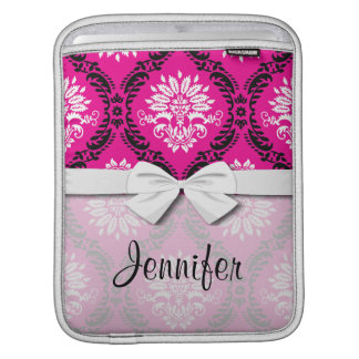 hot pink black white ornate damask iPad sleeve