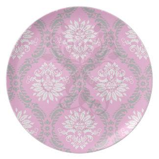 hot pink black white ornate damask melamine plate