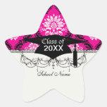 hot pink black white ornate damask star sticker